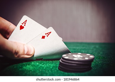 Poker Aces pair on the play table