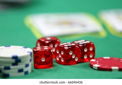 Poker and black jack, with isolated gaming objects, towards green