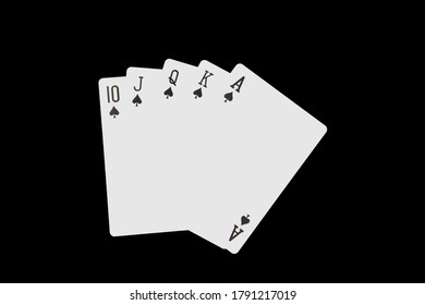 Poker card 10 spade to A spade on a black background.