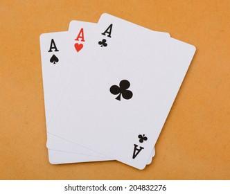 Poker card Three of a kind ace