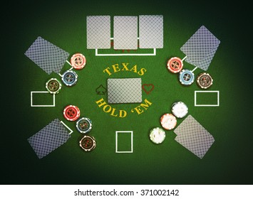 Poker cards and chips lying on green poker cloth. Texas Hold'em.