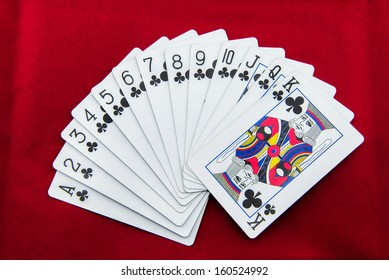 poker cards on red background