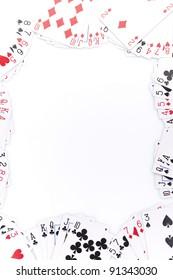 Poker cards on white background.