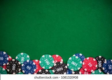 Poker casino chips border background.