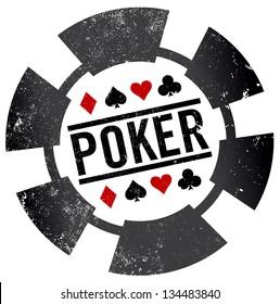 poker chip grunge stamp