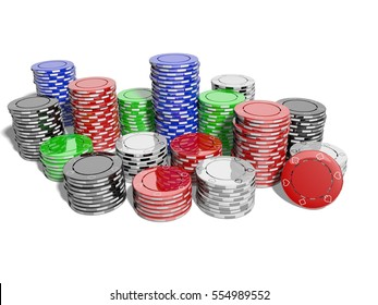 Poker chips for casino or casino tokens, on the game table. Isolated with white background. 3D Rendering.
