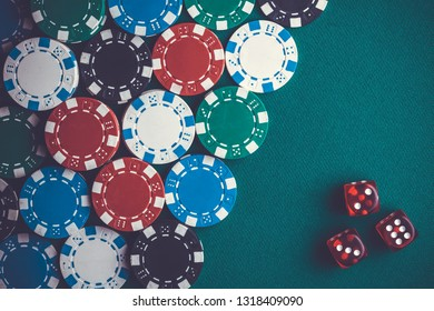 poker chips and dice, casino concept