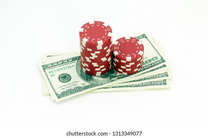 Poker chips and dollar Money bills. Isolated on white background