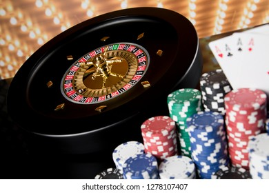 Poker Chips on gaming table, roulette