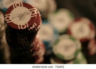 poker chips stacked up