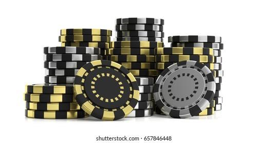 Poker chips stacks isolated on white background. 3d illustration