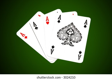 Poker of four aces on dark green background. For best object isolation work patch is included