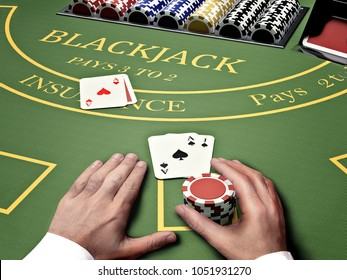 poker gambler at blackjack table in online casino