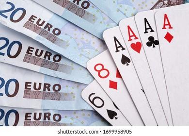 jeu de poker avec carte et euro