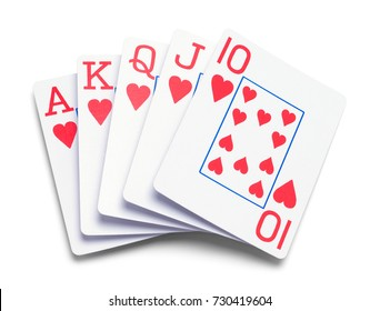 Poker Hand of Cards Isolated on White Background.