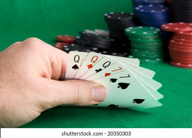 A poker hand with a full house