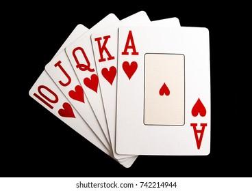 Poker Hand Heart Royal Flush on Black Background
