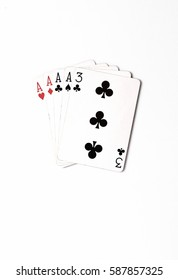 Poker hand rankings symbol set Playing cards in casino: four of a kind on white background, luck abstract, vertical photo with copyspace