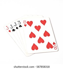 Poker hand rankings symbol set Playing cards in casino: three of a kind jack on white background, luck abstract, copyspace, horizontal