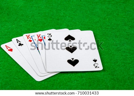 Poker hand showing two pair