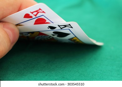 Poker hand with two kings in a casino