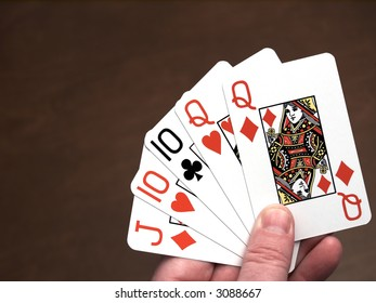 Poker hand, two pair, queens and tens
