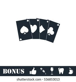 Poker icon flat. Simple illustration symbol and bonus pictogram