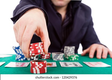 Poker player isolated on white background