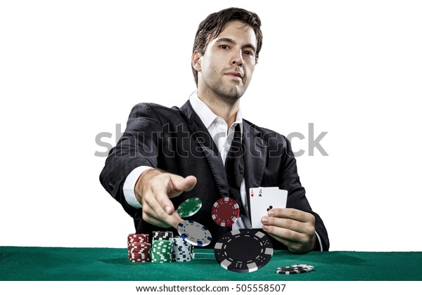 Poker player showing a pair of aces, on a white background.