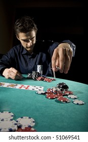 Poker player throwing chips