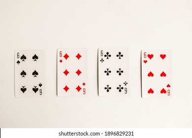 Poker quads playing card, white background