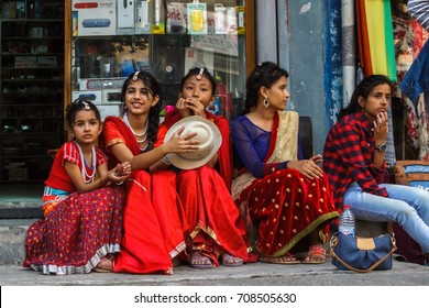 POKHARA, NEPAL - 11/9/2015: Girls in traditional clothes during the Tihar festival in Pokhara, Nepal.