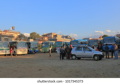 POKHARA NEPAL - NOVEMBER 9, 2017: Unidentified people travel at long distance bus terminal in Pokhara Nepal.
