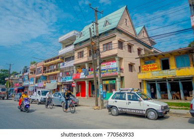 POKHARA, NEPAL - OCTOBER 06 2017: Outdoor view of a three floor building of Tibetan medical center located in Nepal