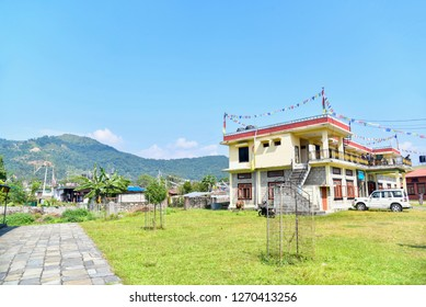 Pokhara, Nepal - October 21, 2018: Building of Tibetan Refugee Camp in Pokhara City