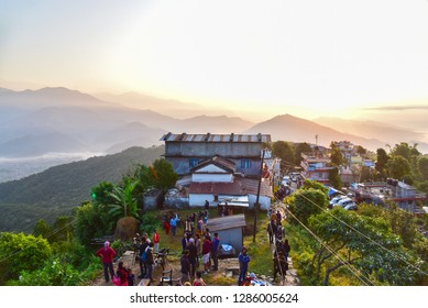 Pokhara, Nepal - October 22, 2018: Tourists at Sarangkot Hill During Sunrise in the Morning