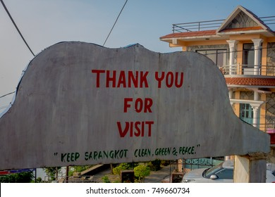 POKHARA, NEPAL, SEPTEMBER 04, 2017: Informative sign of thank you for visit written over a rock at the beginning of the route at Sarangkot, Nepal