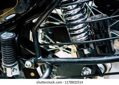 Pokhara Nepal September 12, 2018 Closeup of a Royal Enfield motorcycle parked in the street of Pokhara in the afternoon