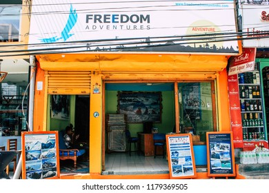 Pokhara Nepal September 13, 2018 View of the facade of a Nepalese travel agency located in New road street at Lake side Pokhara in the morning