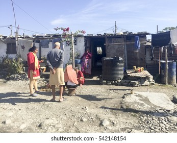 Pokhara, Nepal-Dec 11, 2016:Daily Life, people, house and building in the slum or squatters area near the Pokhara Town in Nepal.
