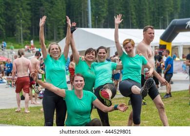 Pokljuka, Slovenia, 06.25.2016: The contestants took part in the race OVIRATLON obstacle CHALLENGE Pokljuka, Slovenia on 06.25.2016