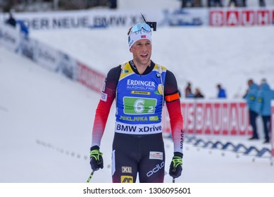 Pokljuka, Slovenia - December 2, 2018: Lars Helge Birkeland of Norway competes in the  single mixed at the BMW IBU World Cup Biathlon 1