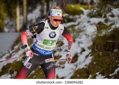 Pokljuka, Slovenia - December 2, 2018: Ingrid Tandrevold of Norway competes in the  mixed relay at the BMW IBU World Cup Biathlon 1
