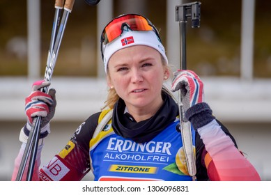 Pokljuka, Slovenia - December 2, 2018: Thekla Brun-Lie of Norway competes in the single mixed relay at the BMW IBU World Cup Biathlon 1