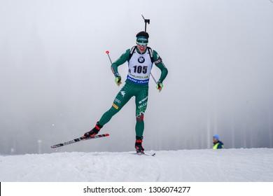Pokljuka, Slovenia - December 6, 2018: Saverio Zini of Italy competes in the  individual race at the BMW IBU World Cup Biathlon 1