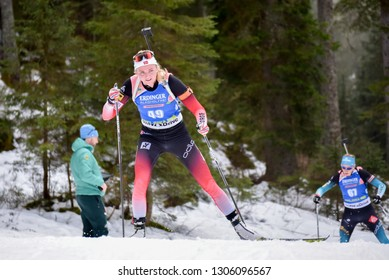Pokljuka, Slovenia - December 6, 2018: Thekla Brun-Lie of Norway competes in the  individual race at the BMW IBU World Cup Biathlon 1