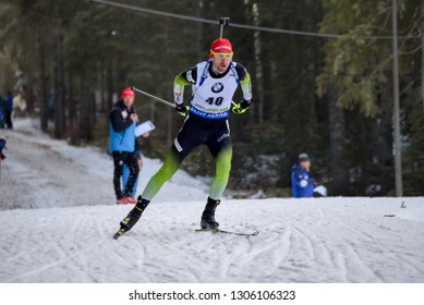 Pokljuka, Slovenia - December 6, 2018: Jakov Fak of Slovenia competes in the  individual race at the BMW IBU World Cup Biathlon 1