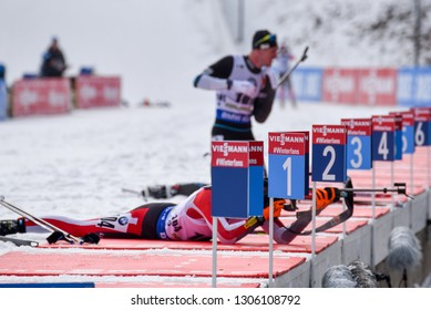 Pokljuka, Slovenia - December 6, 2018: Atheletes on the shooting range in the  individual race at the BMW IBU World Cup Biathlon 1