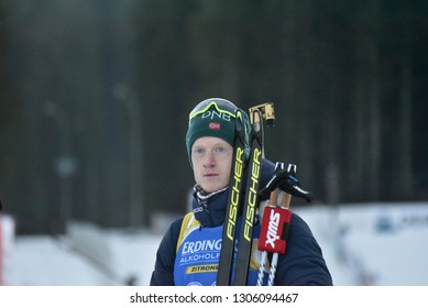Pokljuka, Slovenia - December 7, 2018: Johannes Thingnes Boe of Norway competes in the sprint at the BMW IBU World Cup Biathlon 1