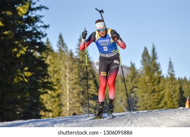 Pokljuka, Slovenia - December 7, 2018: Lars Helge Birkeland of Norway competes in the  sprint at the BMW IBU World Cup Biathlon 1